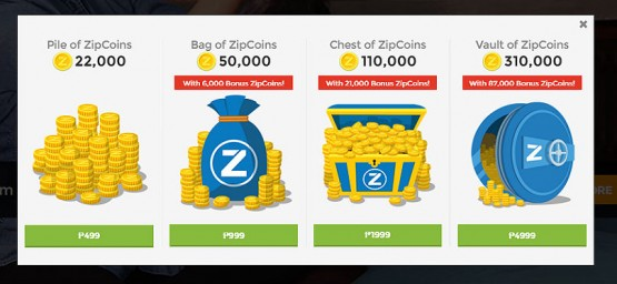 zipcoins options