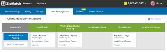 manage leads zipmatch