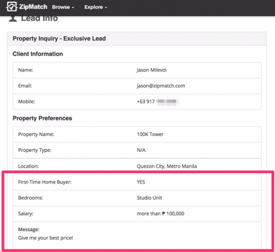 ZipMatch lead details